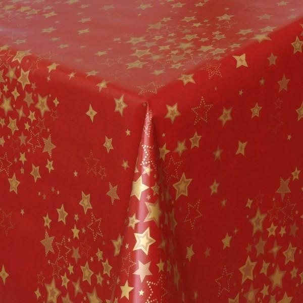 Tischdecke Wachstuch Weihnachten Lebensmittelecht mit Sternen Rot Gold