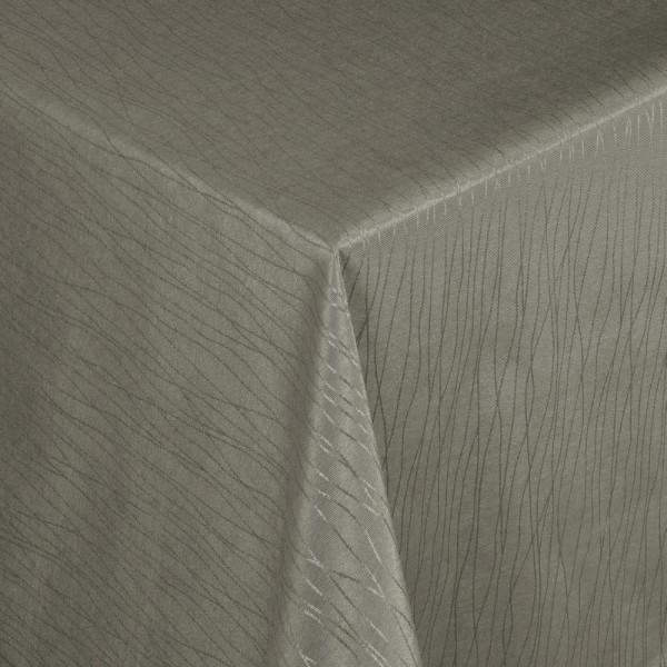 Tischdecken Jacquard-Gewebe mit Fleckschutz und Saum Florenz in Braun