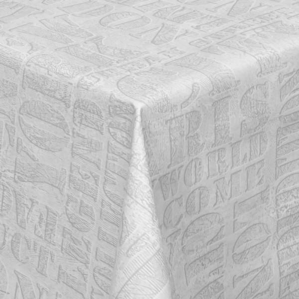 Tischdecke Abwaschbar Wachstuch Lebensmittelecht mit Schrift Hell-Grau