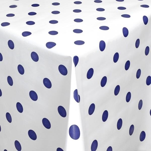 Tischdecke Abwaschbar Wachstuch Punkte Motiv Weiss Blau im Wunschmaß