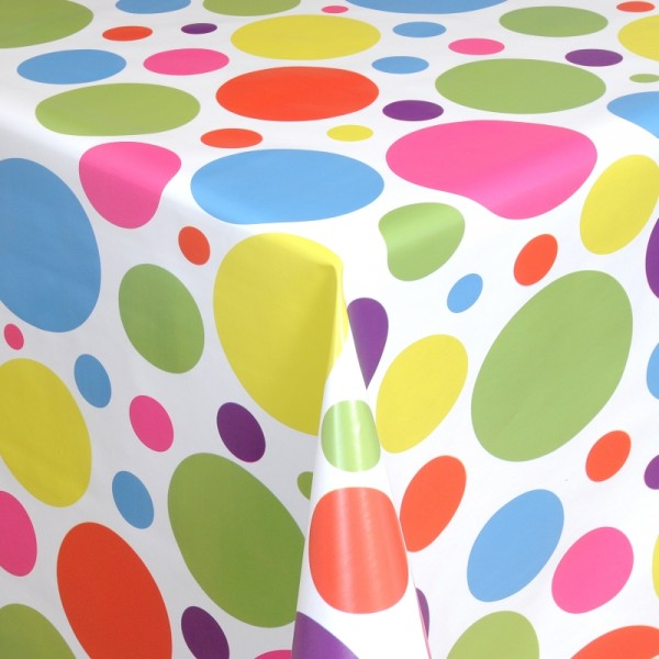 Tischdecke Abwaschbar Wachstuch bunte Punkte Motiv im Wunschmaß