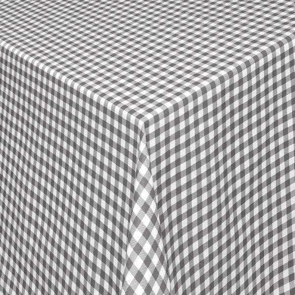 Tischdecken Landhaus 100% Baumwolle Grau-Weiss kariert mit Fleckschutz