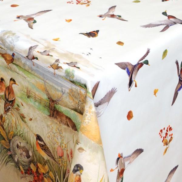 Tischdecke Abwaschbar Wachstuch Natur Waldtiere Motiv im Wunschmaß