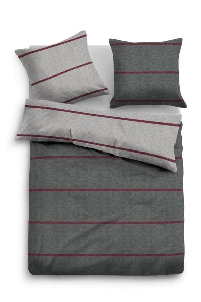 Bettwäsche Tom Tailor Melange-Flanell mit Streifen in Dunkel-Grau