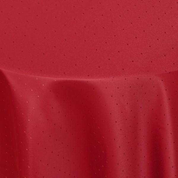 Tischdecken Damast Rund mit Saum Punkte Wein-Rot
