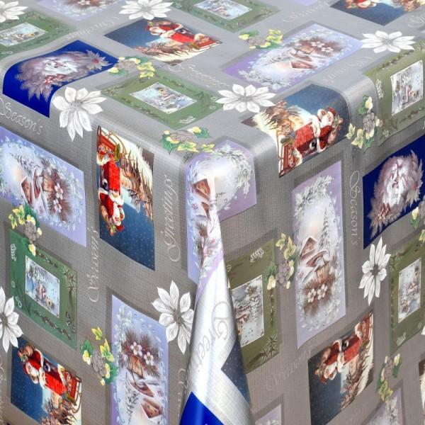 Tischdecke Abwaschbar Wachstuch Weihnachten Weihnachtsmotive Grau