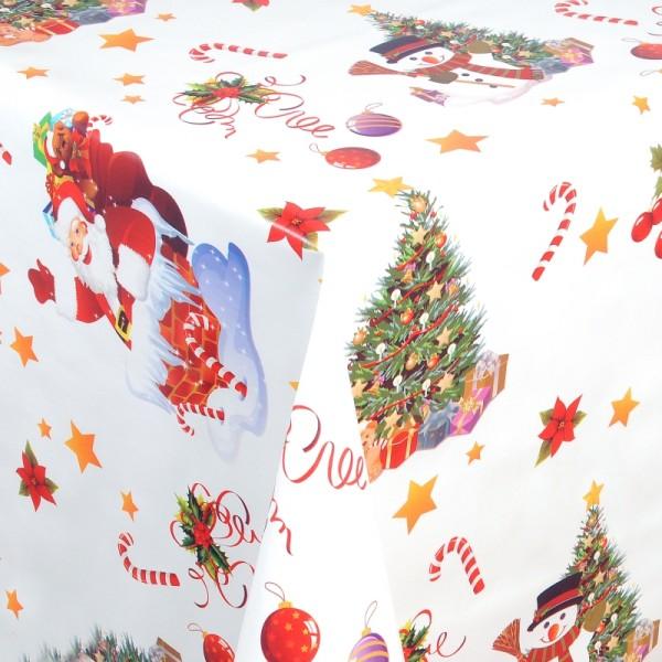 Tischdecke Abwaschbar Wachstuch Weihnacht Zuckerstange Weiss Wunschmaß