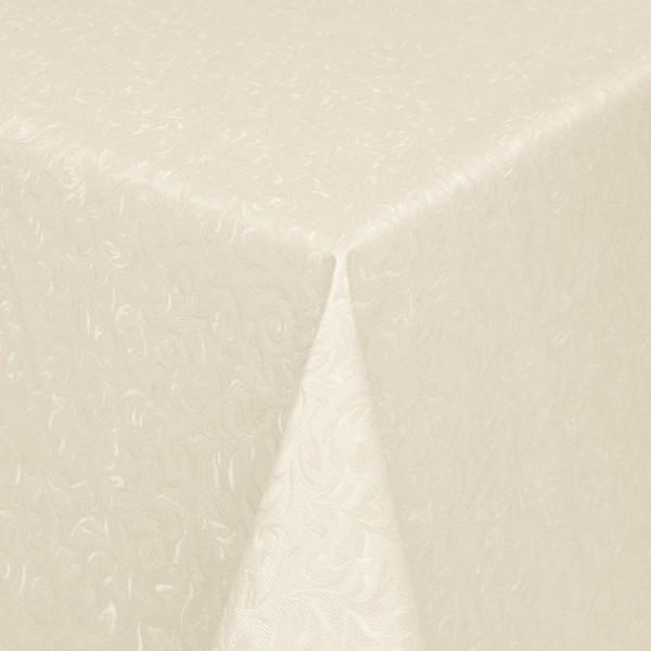 Tischdecke Abwaschbar Wachstuch Relief Ornamente Beige im Wunschmaß