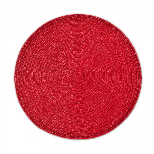 Tischsets 6er-Set Platzsets 38 cm Rund mit Glanzeffekt in Rot