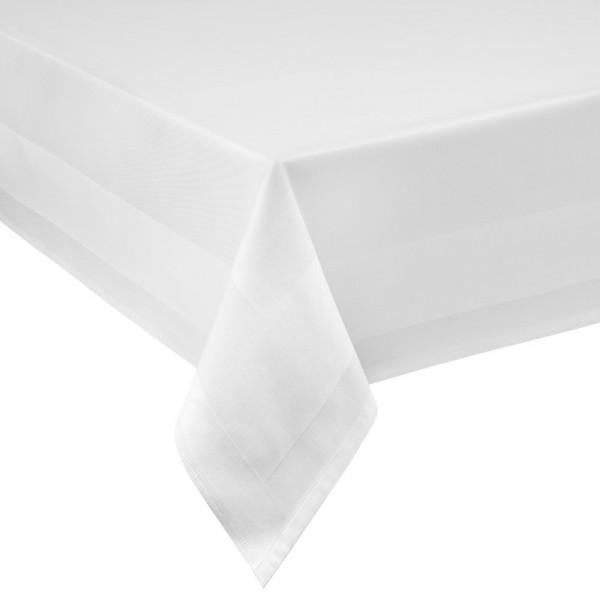 Tischdecke Vollzwirn Damast aus 100% Baumwolle Atlasstreifen in Weiss