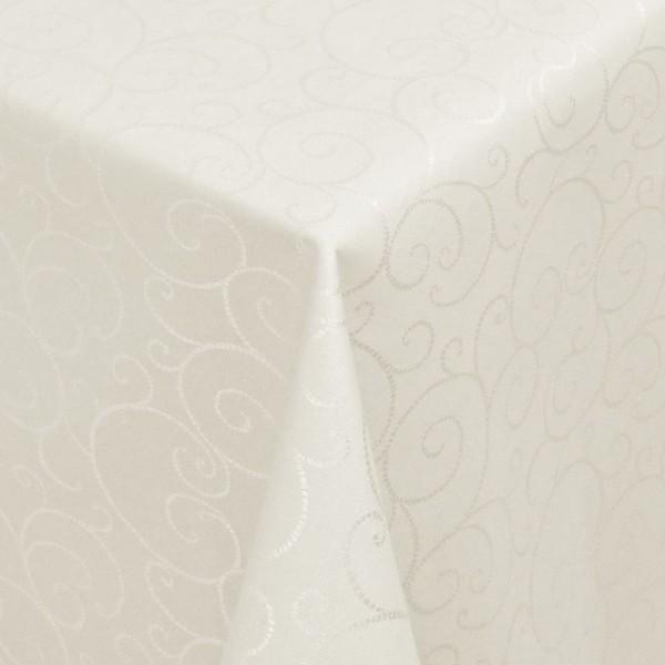 Tischdecken Jacquard-Gewebe mit Fleckschutz und Saum Marbella in Creme-Champagne
