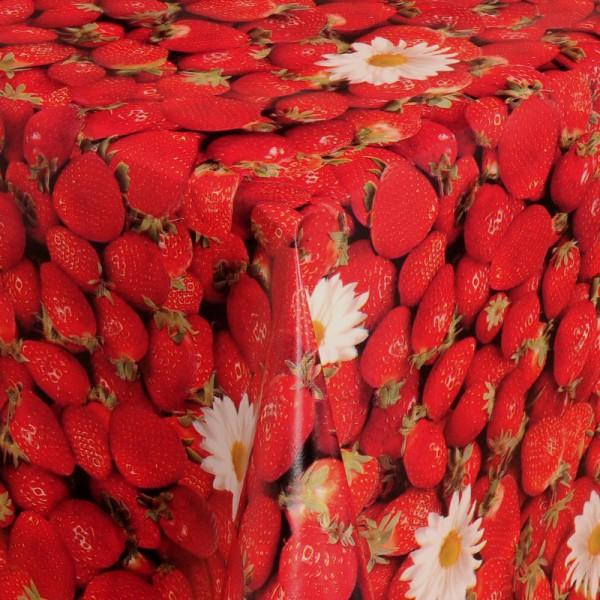 Tischdecke Abwaschbar Wachstuch Erdbeeren Motiv Rot im Wunschmaß