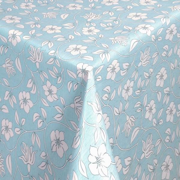 Tischdecke Abwaschbar Wachstuch Blumenranken Blau Weiss im Wunschmaß