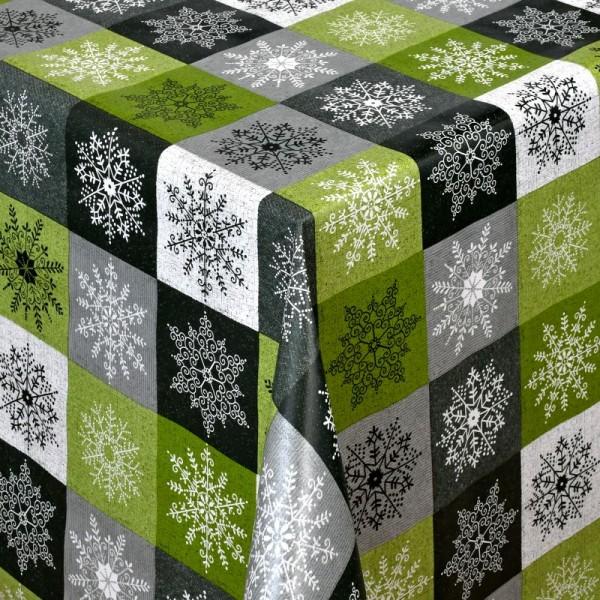 Tischdecke Abwaschbar Wachstuch Weihnachten Schneekristalle Grün-Grau