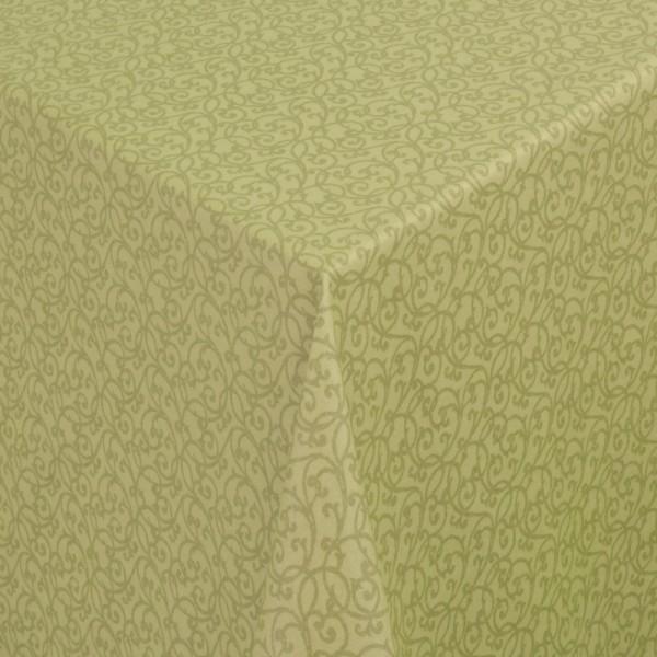 Tischdecken Pesaro 100% Baumwolle Ranken in Grün mit Fleckschutz