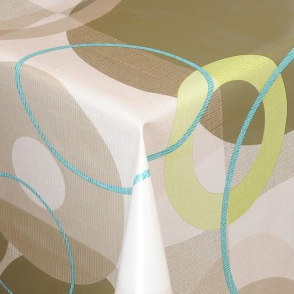 Tischdecke Abwaschbar Wachstuch Retro Motiv Grün Beige im Wunschmaß