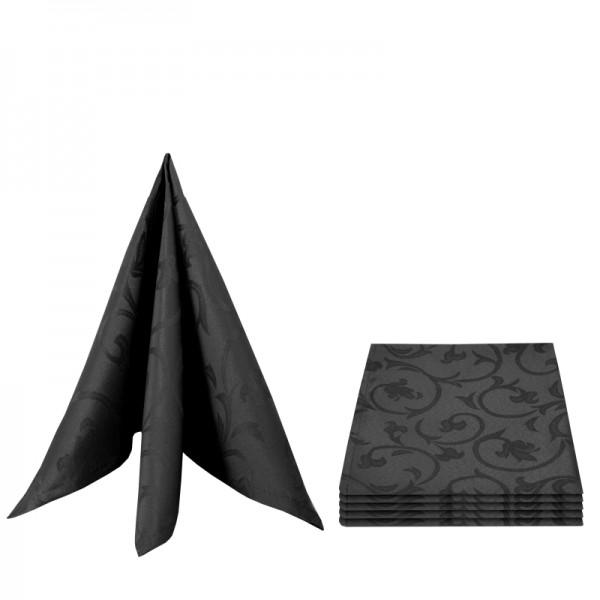 Servietten Damast Barock 50x50 Schwarz (6er Pack)