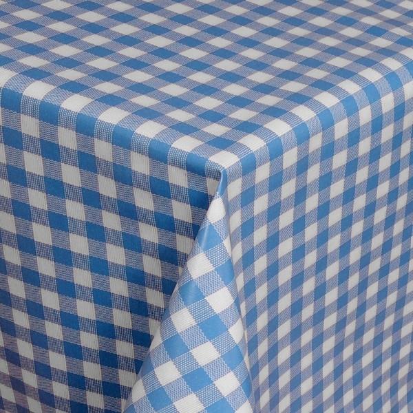 Tischdecke Abwaschbar Wachstuch Karos Blau Weiss im Wunschmaß