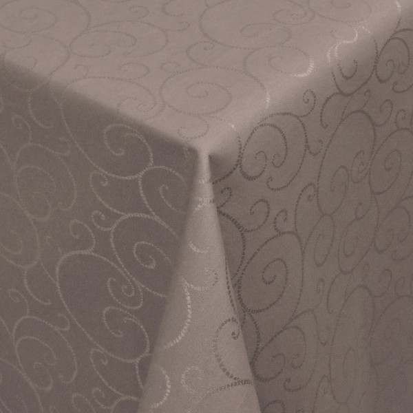 Tischdecken Jacquard-Gewebe mit Fleckschutz und Saum Marbella in Braun