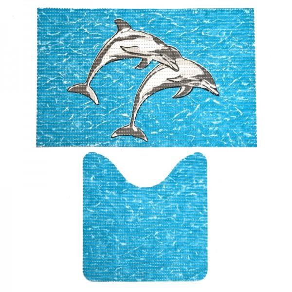 Badvorleger Badematten Badgarnitur Weichschaum Delphine Motiv Blau