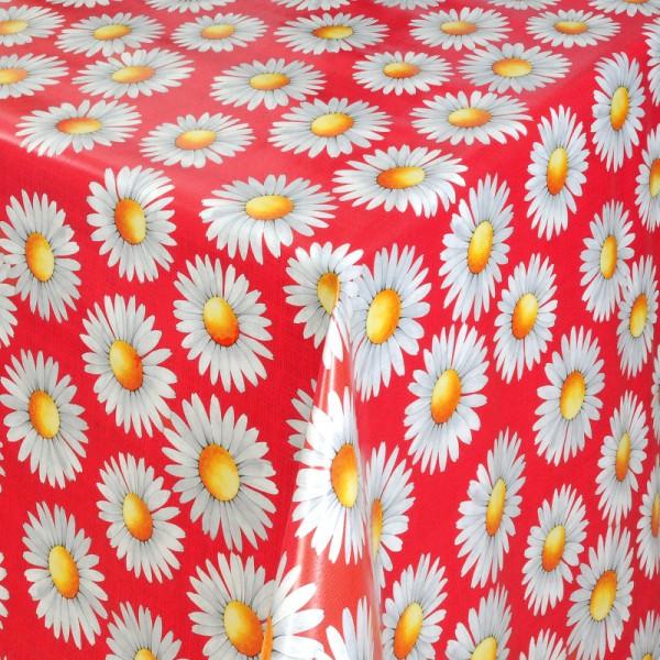 Tischdecke Abwaschbar Wachstuch Margariten Motiv Rot im Wunschmaß