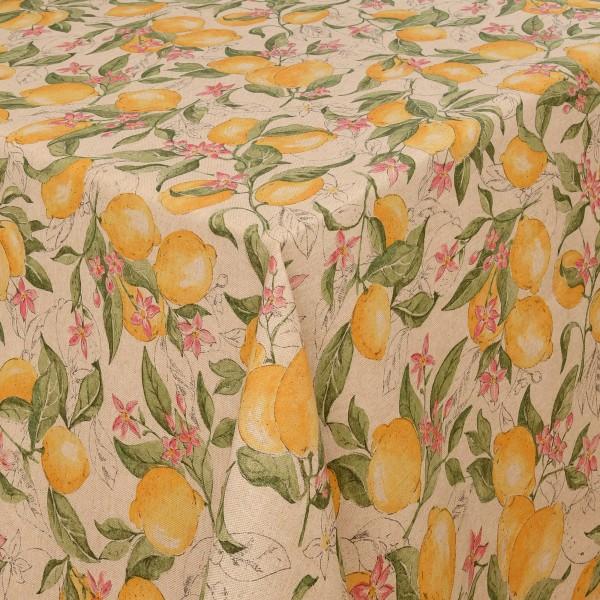 Tischdecken Scafati Baumwolle Zitronen Motiv mit Fleckschutz in Gelb