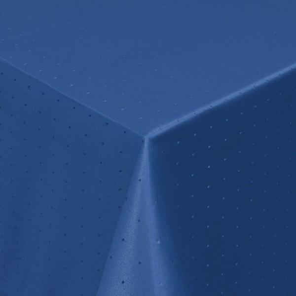 Tischdecken Damast Eckig mit Saum Punkte Dunkel-Blau