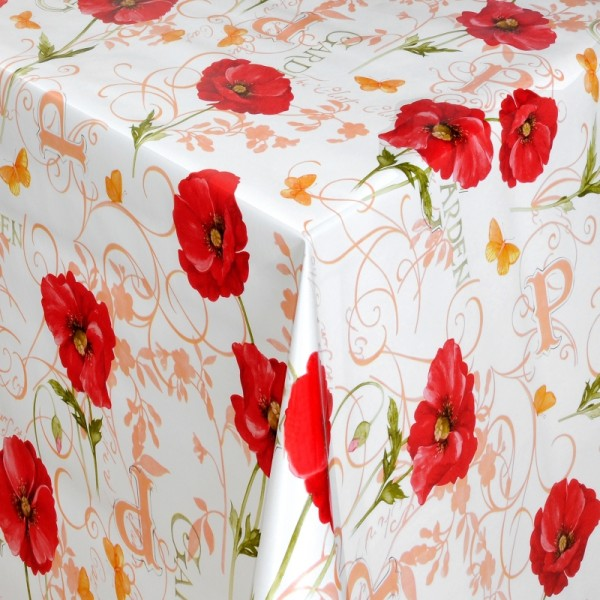 Tischdecke Abwaschbar Wachstuch Mohnblume Rot Weiss im Wunschmaß