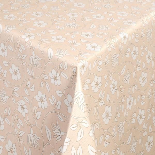 Tischdecke Abwaschbar Wachstuch Blumenranken Gelb Weiss im Wunschmaß