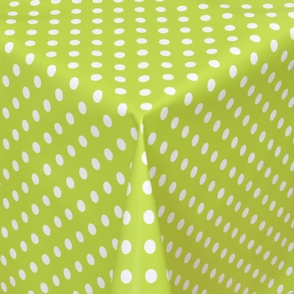 Tischdecke Abwaschbar Wachstuch Lebensmittelecht Punkte Grün Weiss