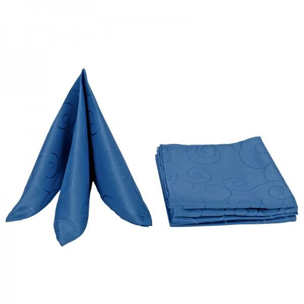 Servietten Damast Ornamente 50x50 Dunkel-Blau (6er Pack)