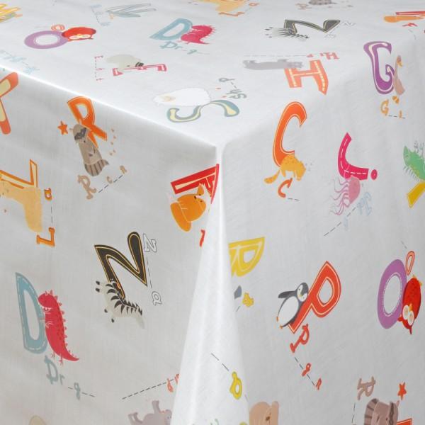 Tischdecke Abwaschbar Wachstuch Buchstaben Motiv Weiss im Wuschmaß