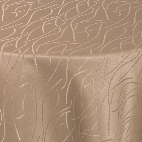 Tischdecken Damast Oval mit Saum Streifen Hell-Braun