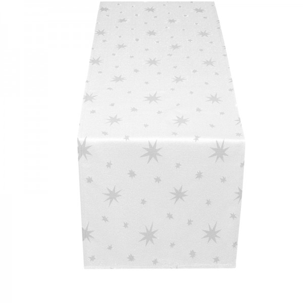 Tischläufer Tischband Lurex 40x170 cm Weiss-Silber