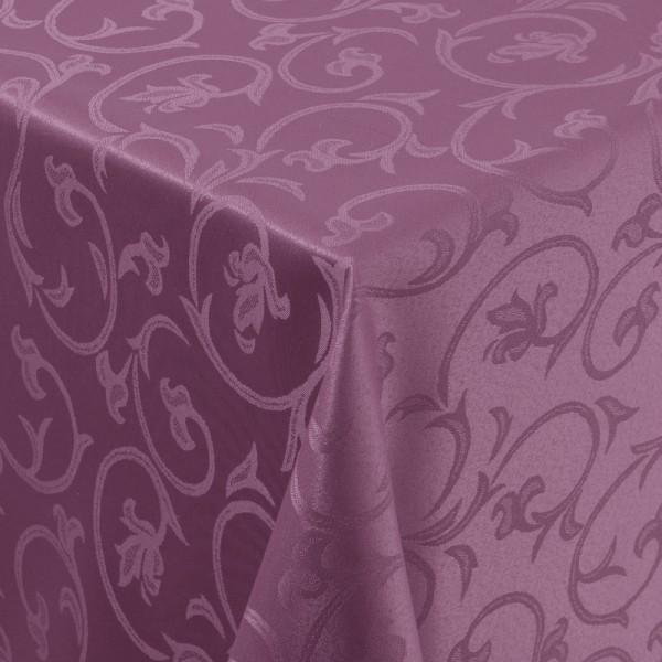 Tischdecken Damast Eckig mit Saum Barock Lila