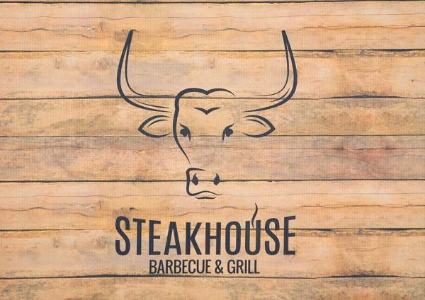 Grillunterlage Grillmatte Bodenschutz Anti-Rutsch Steakhouse Holz-Motiv