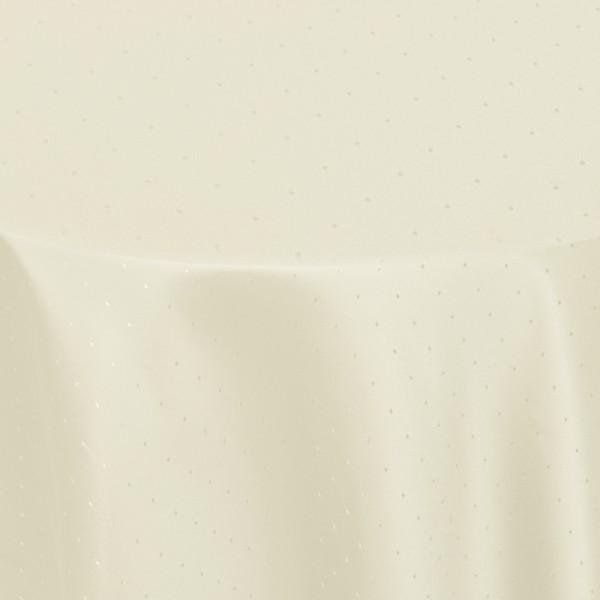 Tischdecken Damast Rund mit Saum Punkte Creme-Champagner