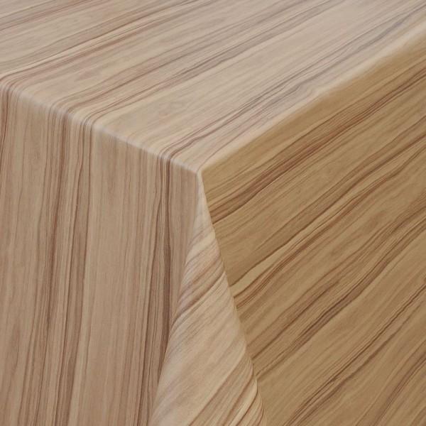 Tischdecke Abwaschbar Wachstuch Holz Struktur Beige-Braun im Wunschmaß