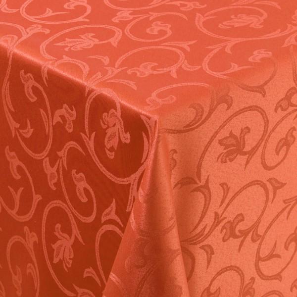 Tischdecken Damast Eckig mit Saum Barock Orange