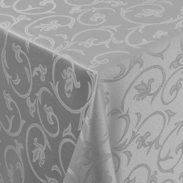 Tischdecken Damast Eckig mit Saum Barock Grau