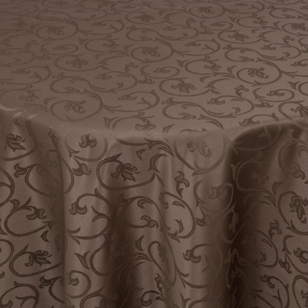 Tischdecken Damast Oval mit Saum Barock Dunkel-Braun