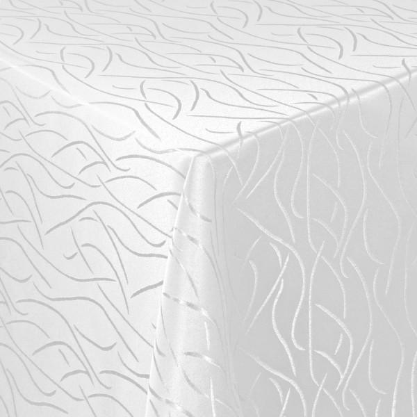 Tischdecken Damast Eckig mit Saum Streifen Weiss