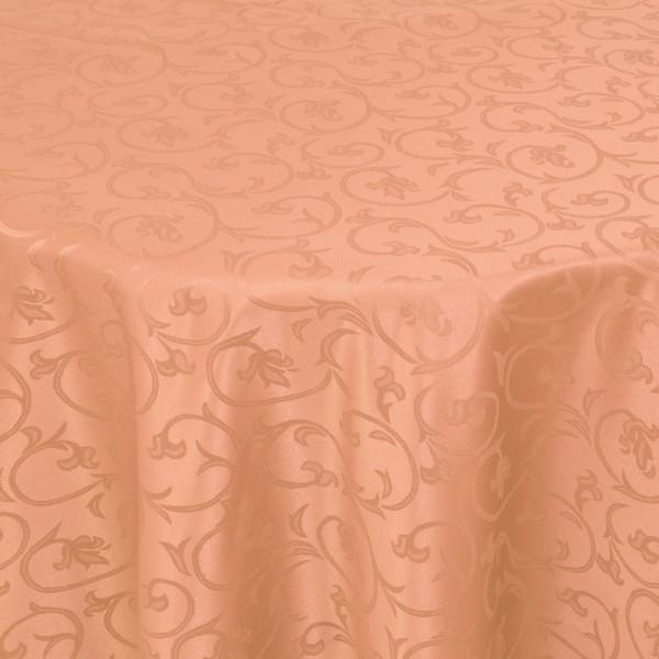 Tischdecken Damast Rund mit Saum Barock Apricot