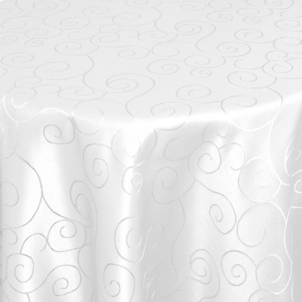 Tischdecken Damast Oval mit Saum Ornamente Weiss