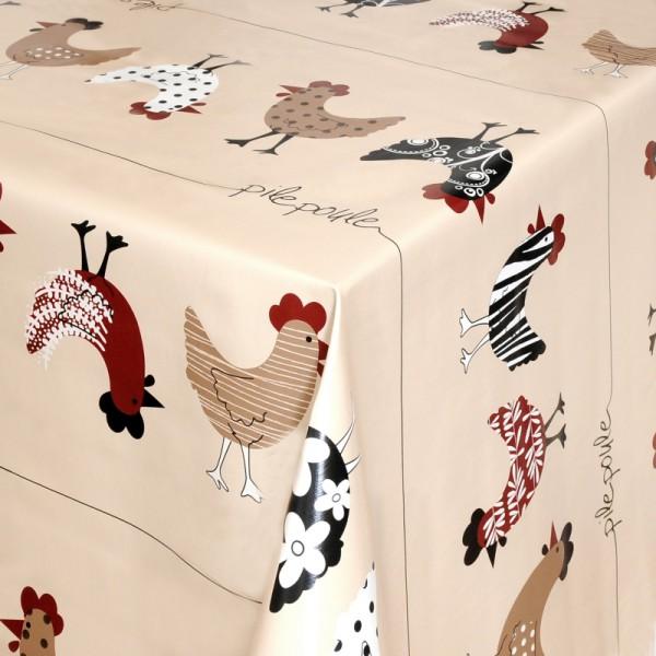 Tischdecke Abwaschbar Wachstuch Hühner Motiv Beige Sand im Wunschmaß