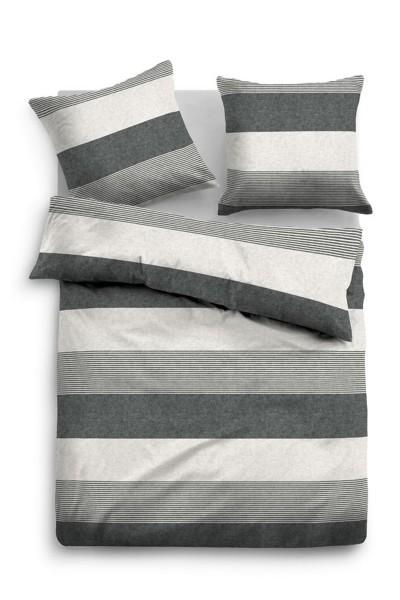 Bettwäsche Tom Tailor Melange-Flanell Streifen Motiv in Dunkel-Grau