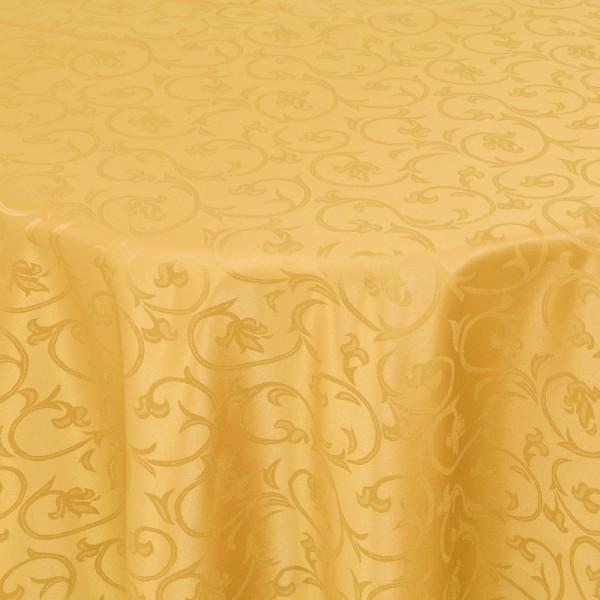 Tischdecken Damast Oval mit Saum Barock Dunkel-Gelb