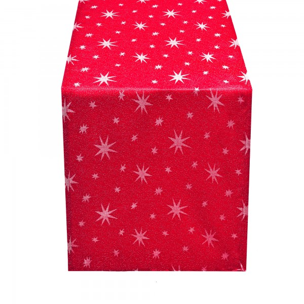 Tischläufer Lurex Sterne 40x150 cm Rot