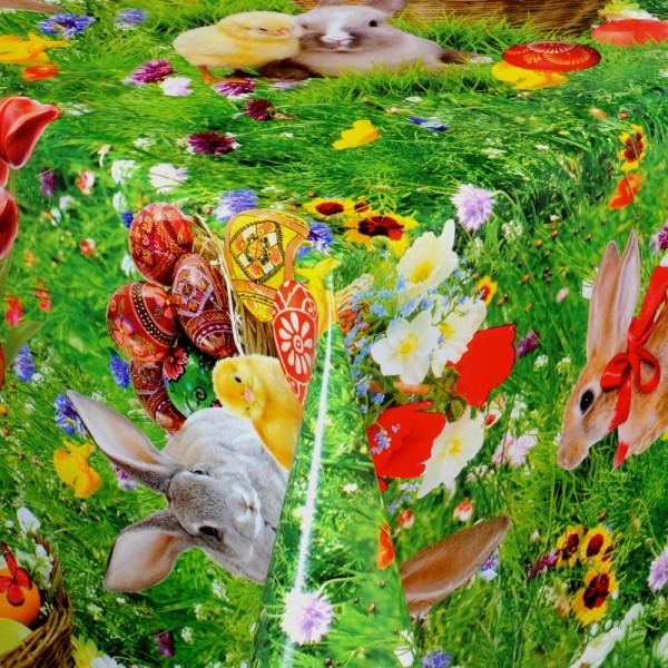 Tischdecke Abwaschbar Wachstuch Ostern Motiv mit Hasen im Wunschmaß