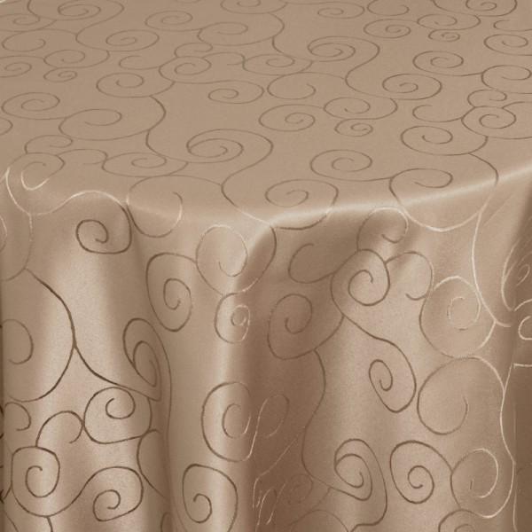 Tischdecken Damast Oval mit Saum Ornamente Hell-Braun